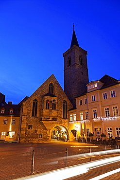 Illuminated old town buildings, Erfurt, Thuringia, Germany