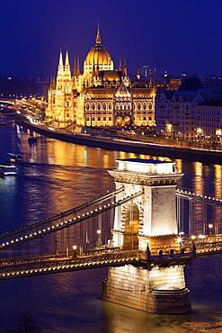 Illuminated Chain Bridge and Hungarian Parliament Building, Hungary, Budapest, Chain bridge, Hungary Parliament