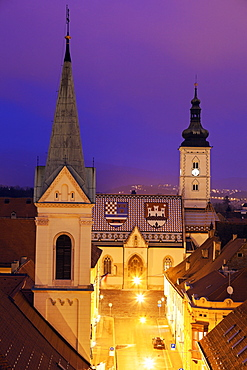 Illuminated St. Mark's Church and Cathedral of Sts. Cyril and Methodius, Croatia, Zagreb, St. Mark's Church, Cirila i Metoda Church