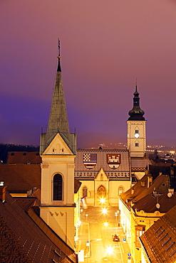 Illuminated St. Mark's Church and Cathedral of Sts. Cyril and Methodius, Croatia, Zagreb, St. Mark's Church, Cirila i Metoda Church