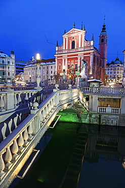 Franciscan Church and Triple Bridge, Slovenia, Ljubljana, Franciscan Church, Triple Bridge