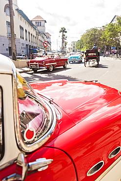 Cuba, Havana, Red vintage car in street