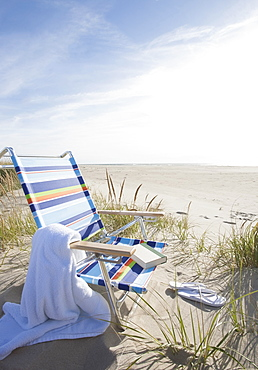 USA, Massachusetts, Nantucket Island, Empty lounge chair on Madaket Beach