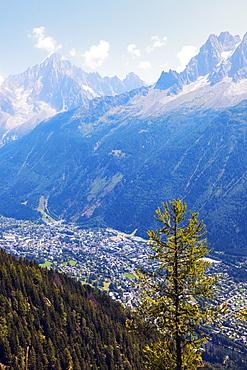 France, Auvergne-Rhone-Alpes, Chamonix seen from Reserve Naturelle de Carlaveyron