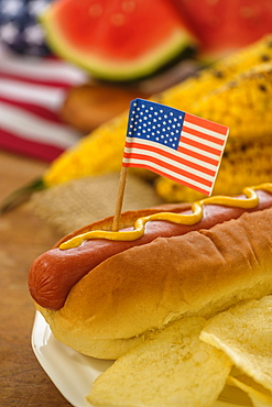 Hot dog with American flag toothpick