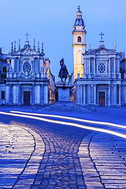 Santa Cristina and San Carlo churches at Piazza San Carlo in Turin, Italy