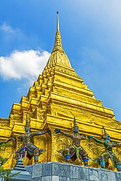 Statues on Wat Phra Kaew in Bangkok, Thailand