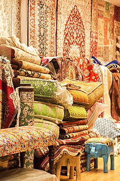 Rugs and cushions at market in Manama, Bahrain