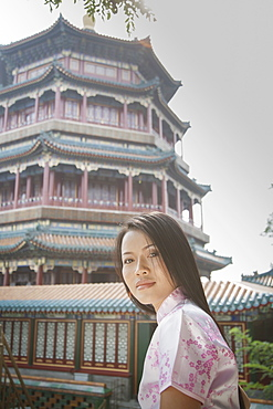 Young woman by Summer Palace in Beijing, China