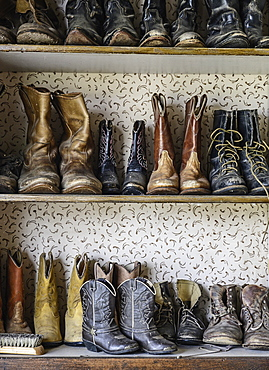 Shelves of cowboy boots