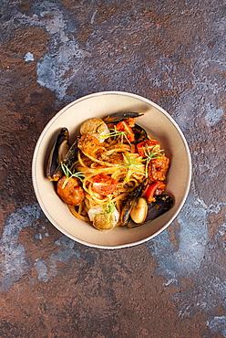 Bowl of seafood spaghetti