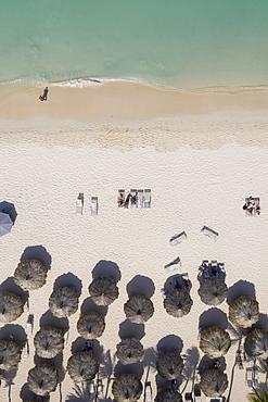 Aerial view of umbrellas on beach in Aruba, Caribbean