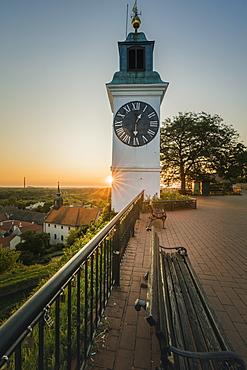 Clock tower at sunrise in Novi Sad, Serbia