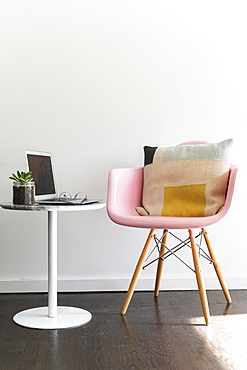 Laptop on table in modern office