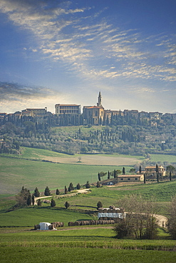 Field and buildings in Tuscany, Italy