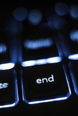 Illuminated 'end' key on keyboard