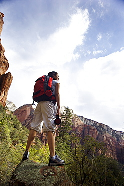 Hiker in Zion National Park, Utah USA