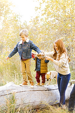Woman holding hands of her sons as they walk on fallen tree