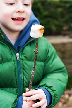 Boy watching roasted marshmallow on stick