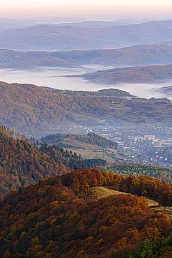 Ukraine, Zakarpattia region, Carpathians, Borzhava, Carpathian Mountainsat sunset