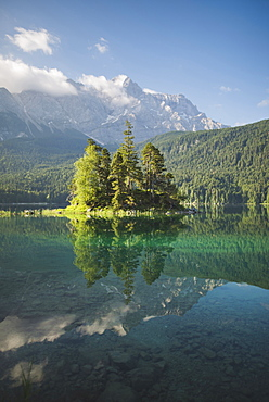 Germany, Bavaria, Eibsee, Scenic view of Eibsee lake in Bavarian Alps Germany at sunrise