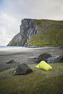 Tents on Kvalvika beach in Lofoten Islands, Norway