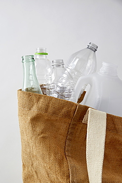 Bottles in recycling bag