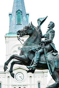 Statue of Andrew Jackson in front of St. Louis Cathedral in New Orleans, USA