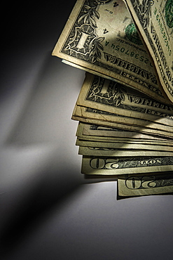 Money on black background