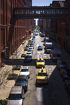 USA, New York, New York City, Yellow taxis on street