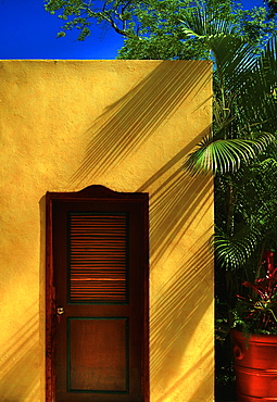 Morocco, Marrakesh, Wooden door in yellow building
