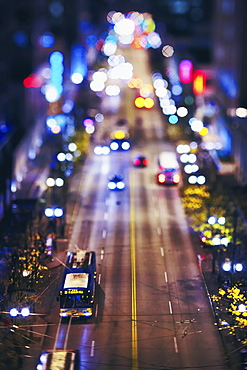 USA, Washington, Seattle, High angle view of cars in city at night