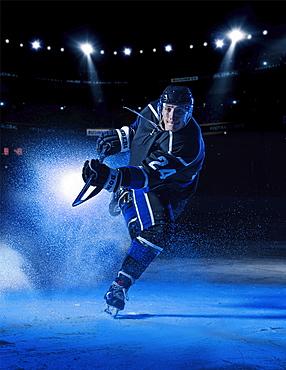Hockey player striking