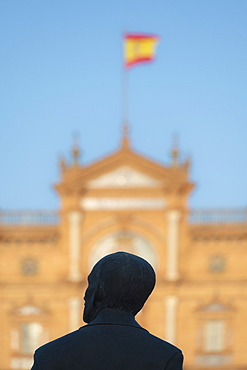 Spain, Seville, Statue of Anibal Gonzales at Plaza de Espana