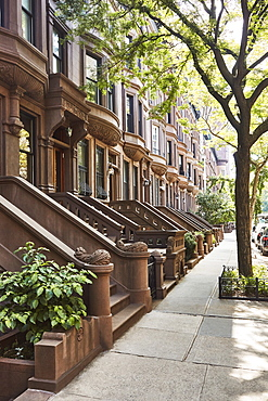 USA, New York, New York City, Row of brownstone buildings