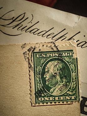 Postage stamp with Benjamin Franklin