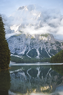 Italy, Landscape with Pragser Wildsee in Dolomites