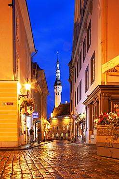 Europe, Baltic States, Estonia, Tallinn, Old town street at night