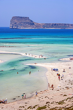 Greece, Crete, Gramvoussa Peninsula, Balos, People on beach and turquoise sea