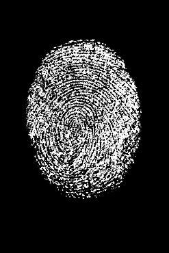 White fingerprint on black background