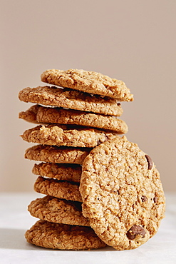 Stack of oatmeal cookies with chocolate chips