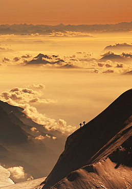 Switzerland, Monte Rosa, Aerial view of Monte Rosa Massif at sunset