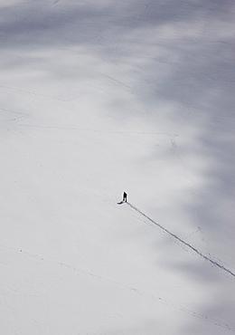 France, Haute-Savoie, Chamonix, Mont Blanc, Climber on Mer De Grace Glacier in Mont Blanc Massif