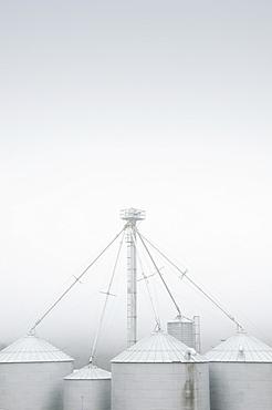 Silos in fog