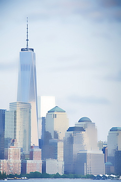 United States, New Jersey, Hoboken, Downtown skyscrapers with One World Trade Center