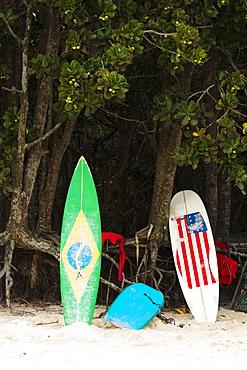 Surfboards on beach, Ilha Grande, Rio de Janeiro, Brazil