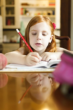 Girl doing school homework at dining room table