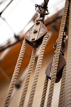 Close up of rigging on ship