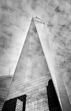 USA, New York, New York, Low angle view of One World Trade Center