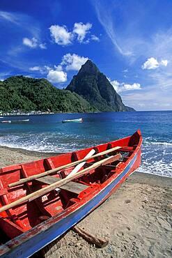 Santa Lucia, Caribbean, Traditional fishing boat on Caribbean beach
